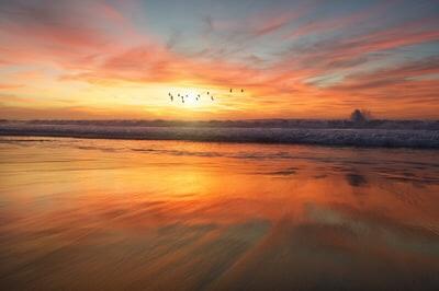 夕陽と海の写真