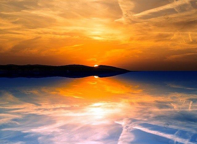 夕陽の画像