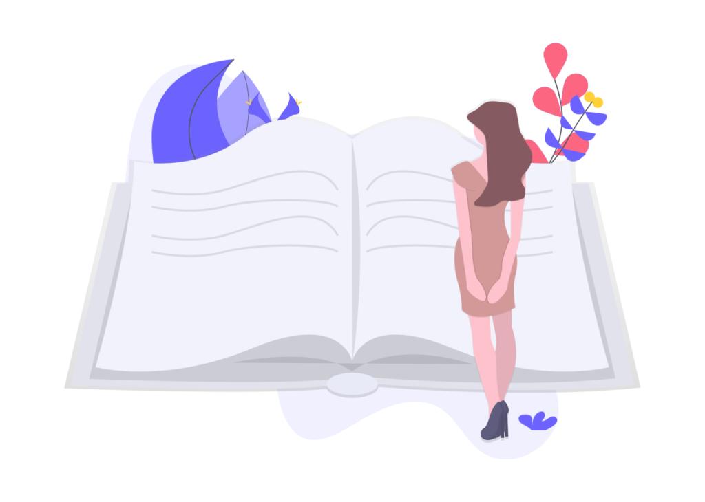 本と女性の画像