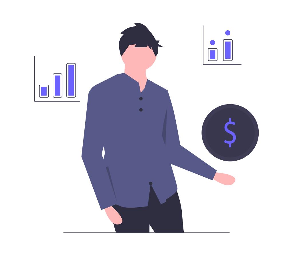 お金とグラフの画像